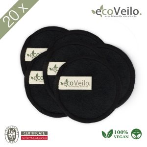 20x Reusable Makeup Remover Pads Black and Cotton Laundry Bag